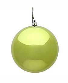 """8"""" Lime Shiny UV Treated Ball Christmas Ornament with Drilled and Wired Cap"""