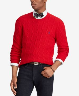 Shop Polo Ralph Lauren Mens Cashmere Wool Blend Cable Knit Sweater