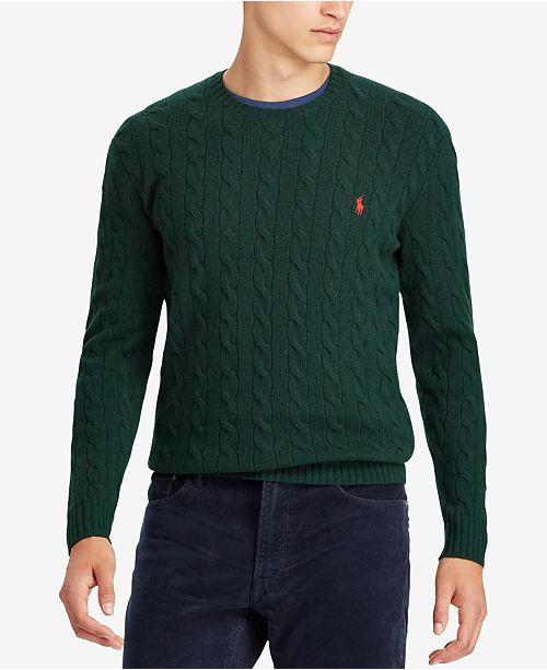 9c968ab61f1b Polo Ralph Lauren Men s Cashmere Wool Blend Cable-Knit Sweater ...
