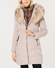 Calvin Klein Hooded Faux-Fur-Trim Puffer Coat
