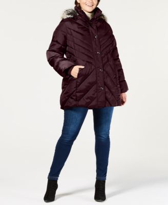 Plus Size Faux-Fur-Trim Hooded Quilted Coat
