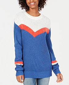 Freshman Juniors' Chevron-Stripe Sweater