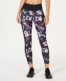 Ideology Garden Noir Printed Mesh-Trimmed Cropped Leggings, Created for Macy's