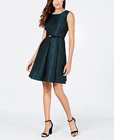 Nine West Belted Damask Fit & Flare Dress
