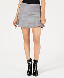 GUESS Celestine Plaid Side-Tie Mini Skirt