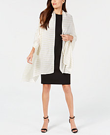 Calvin Klein Pleated Metallic Stripe Evening Wrap