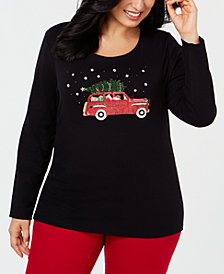 Karen Scott Plus Size Cotton Holiday-Trip Print T-Shirt, Created for Macy's