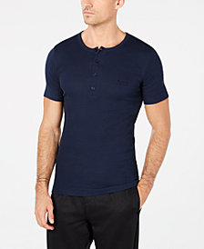 BOSS Men's Ribbed Henley T-Shirt