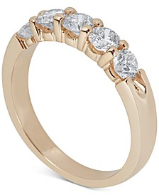 Diamond Five-Stone Ring (1 ct. t.w.) in 14k White or Yellow Gold