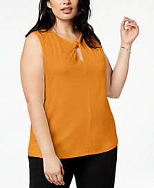 Nine West Plus Size Twisted Keyhole Top