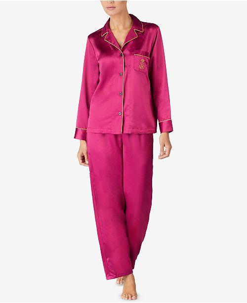 7a9fd2b22f2c Lauren Ralph Lauren Notch Collar Satin Pajama Set   Reviews - Bras ...