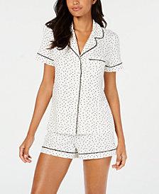 Alfani Notch Collar Pajama Shorts Set, Created for Macy's