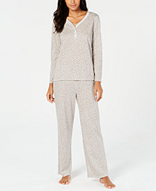 Charter Club Holly-Print Cotton Pajama Set, Created for Macy's