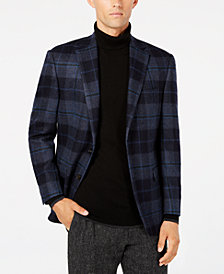 Lauren Ralph Lauren Men's Classic-Fit UltraFlex Stretch Blue/Brown Madras Plaid Sport Coat