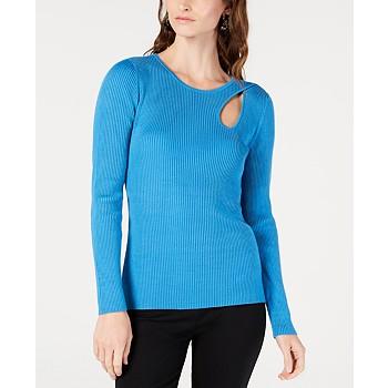 INC International Concepts I.N.C. Ribbed Cutout Sweater