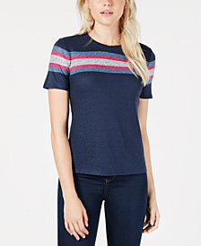 Maison Jules Chest-Stripe T-Shirt, Created for Macy's