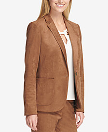 Tommy Hilfiger One-Button Faux-Suede Blazer