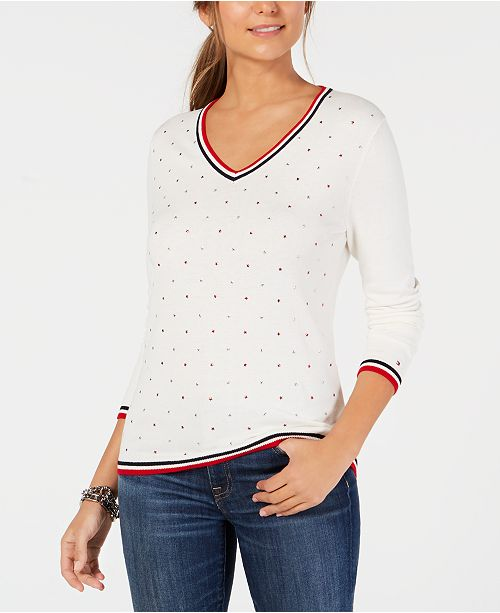 de51c602c ... Tommy Hilfiger Cotton Star-Embellishment V-Neck Sweater, Created for  Macy's ...
