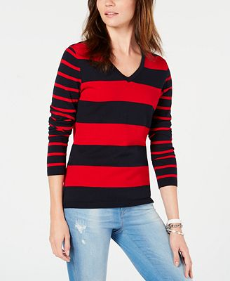 Tommy Hilfiger Cotton Rugby Stripe V Neck Sweater Created For
