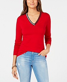 Cotton Striped-Neck Sweater, Created for Macy's
