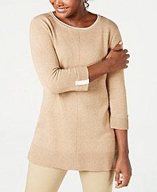 Karen Scott Cotton Colorblocked 3/4-Sleeve Sweater, Created for Macy's