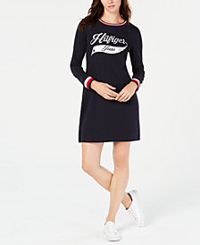 Tommy Hilfiger Striped-Hem Sweatshirt Dress, Created for Macy's