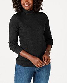 Karen Scott Petite Cotton Mock-Neck Top, Created for Macy's