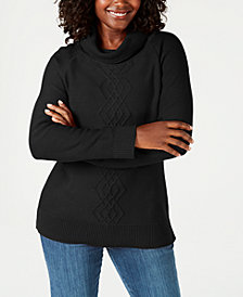 Karen Scott Petite Cotton Funnel-Neck Sweater, Created for Macy's