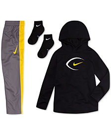 Nike Little Boys Football-Print Hoodie, Colorblocked Pants & Ankle Socks