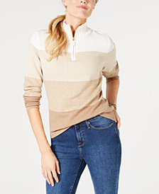 Karen Scott Cotton Quarter-Zip Striped Top, Created for Macy's