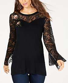 Thalia Sodi Embellished Lace Detail Sweater, Created for Macy's