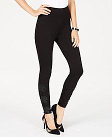Thalia Sodi Appliqué-Trim Leggings, Created for Macy's