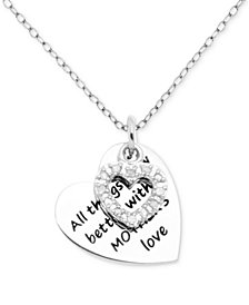"Diamond Mother Message Heart Charm 18"" Pendant Necklace (1/10 ct. t.w.) in Sterling Silver"