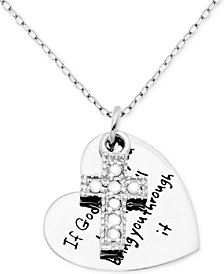 "Diamond Inspirational Message Heart Charm 18"" Pendant Necklace (1/10 ct. t.w.) in Sterling Silver"