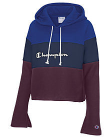Champion Colorblocked Bell-Sleeve Cropped Hoodie