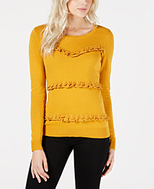 Maison Jules Crew-Neck Ruffled Sweater, Created for Macy's