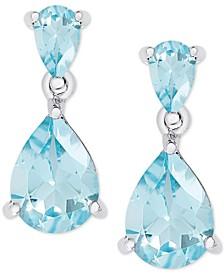 Blue Topaz Double Drop Earrings (2-1/2 ct. t.w.) in Sterling Silver