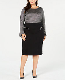 MICHAEL Michael Kors Plus Size Metallic Top & Pencil Skirt