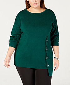 NY Collection Plus Size Side-Button Sweater