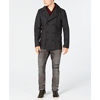 American Rag Mens Wool Blend Peacoat with Removable Hood