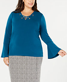 MICHAEL Michael Kors Plus Size Lace-Up Bell-Sleeve Top