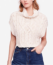Free People Twisted-Cable Cropped Sweater