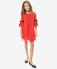 BCX Big Girls 2-Pc. Ribbon-Trim Shift Dress & Necklace Set