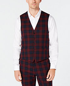 I.N.C. Men's Slim-Fit Stretch Tartan Suit Vest, Created for Macy's