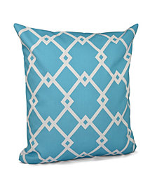 16 Inch Turquoise Decorative Trellis Print Throw Pillow