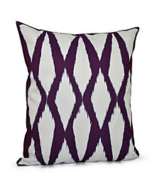 16 Inch Purple Decorative Diamond Print Throw Pillow