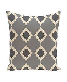 16 Inch Gray Decorative Trellis Print Throw Pillow