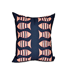 Something's Fishy 16 Inch Navy Blue and Orange Decorative Coastal Throw Pillow