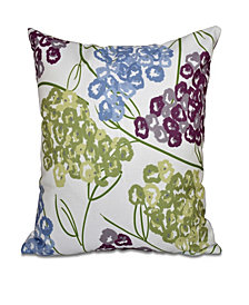 Hydrangeas 16 Inch Purple and Blue Decorative Floral Throw Pillow