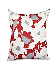 Mod floral 16 Inch Coral and Gray Decorative Floral Throw Pillow